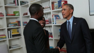 Jermaine Griggs shaking President Obama's hand